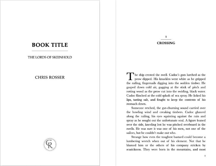 Vellum book and chapter titles