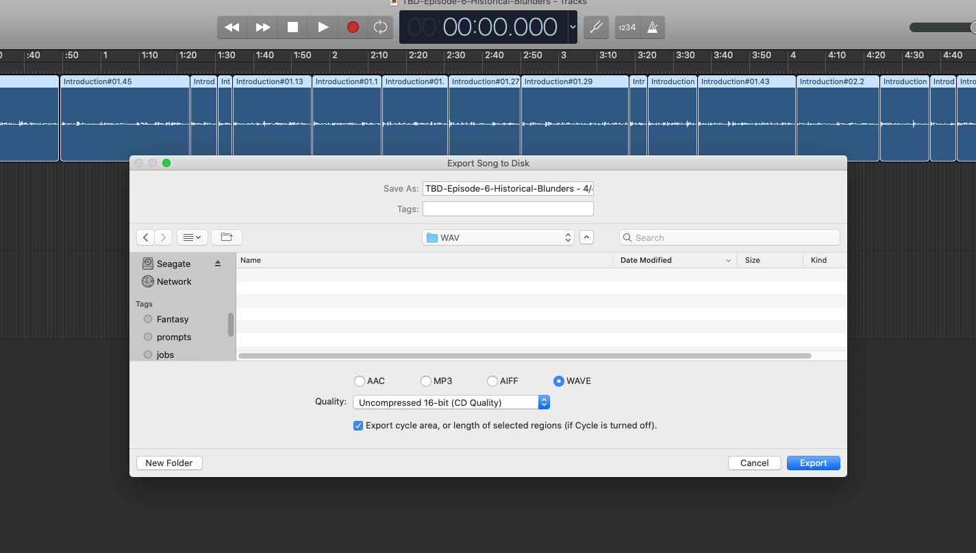 Exporting to disk from Garageband