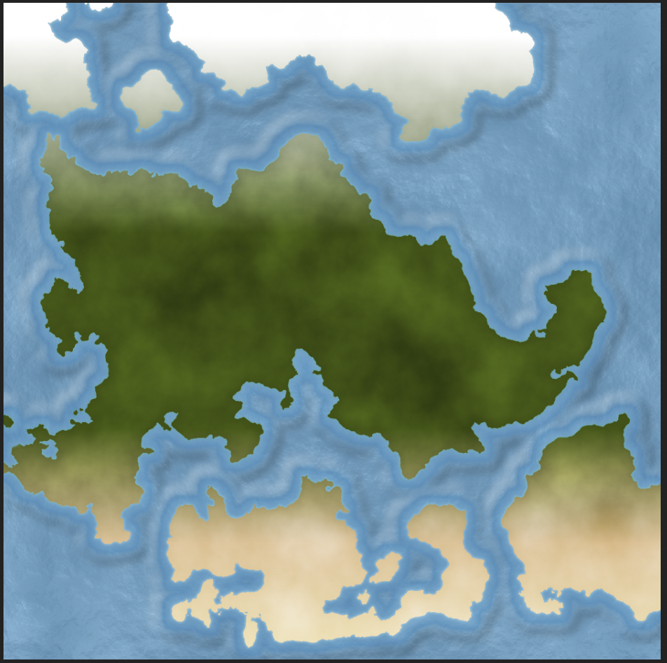 Ocean, landmass and basic colours