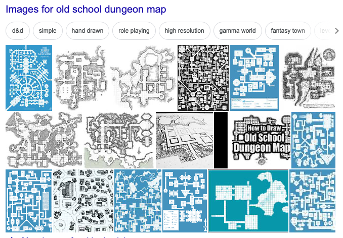Old-school dungeon maps (Google Image search)