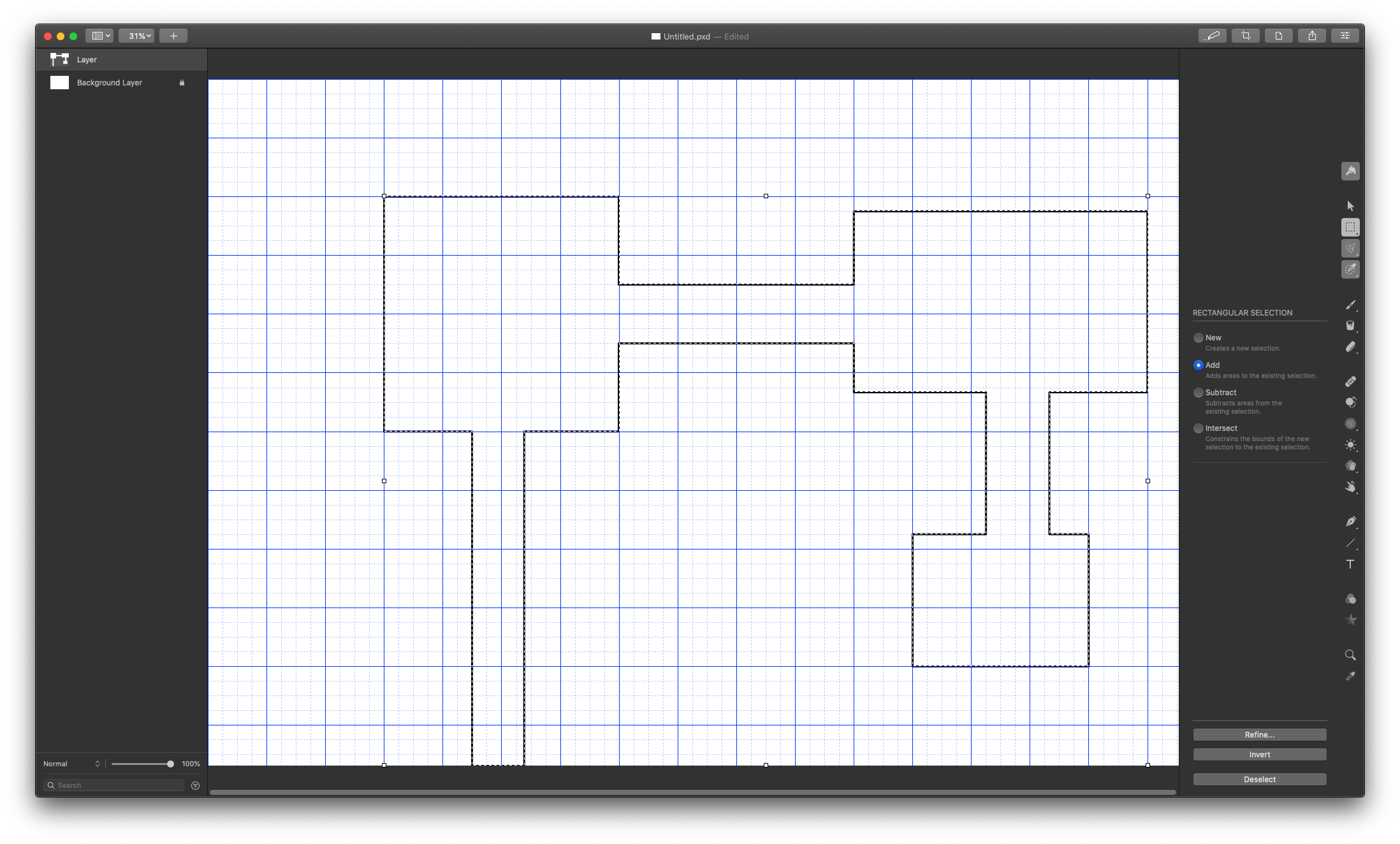 A simple layout created with the selection tool