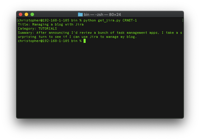 Parsing a jira on the command line
