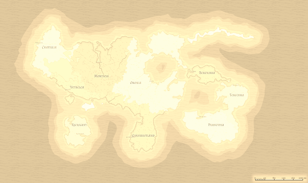 Map with sepia filter applied