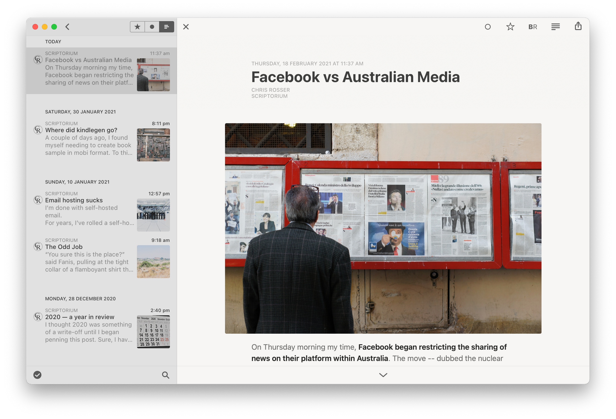 My website's feed displayed in Reeder 4 for macOS