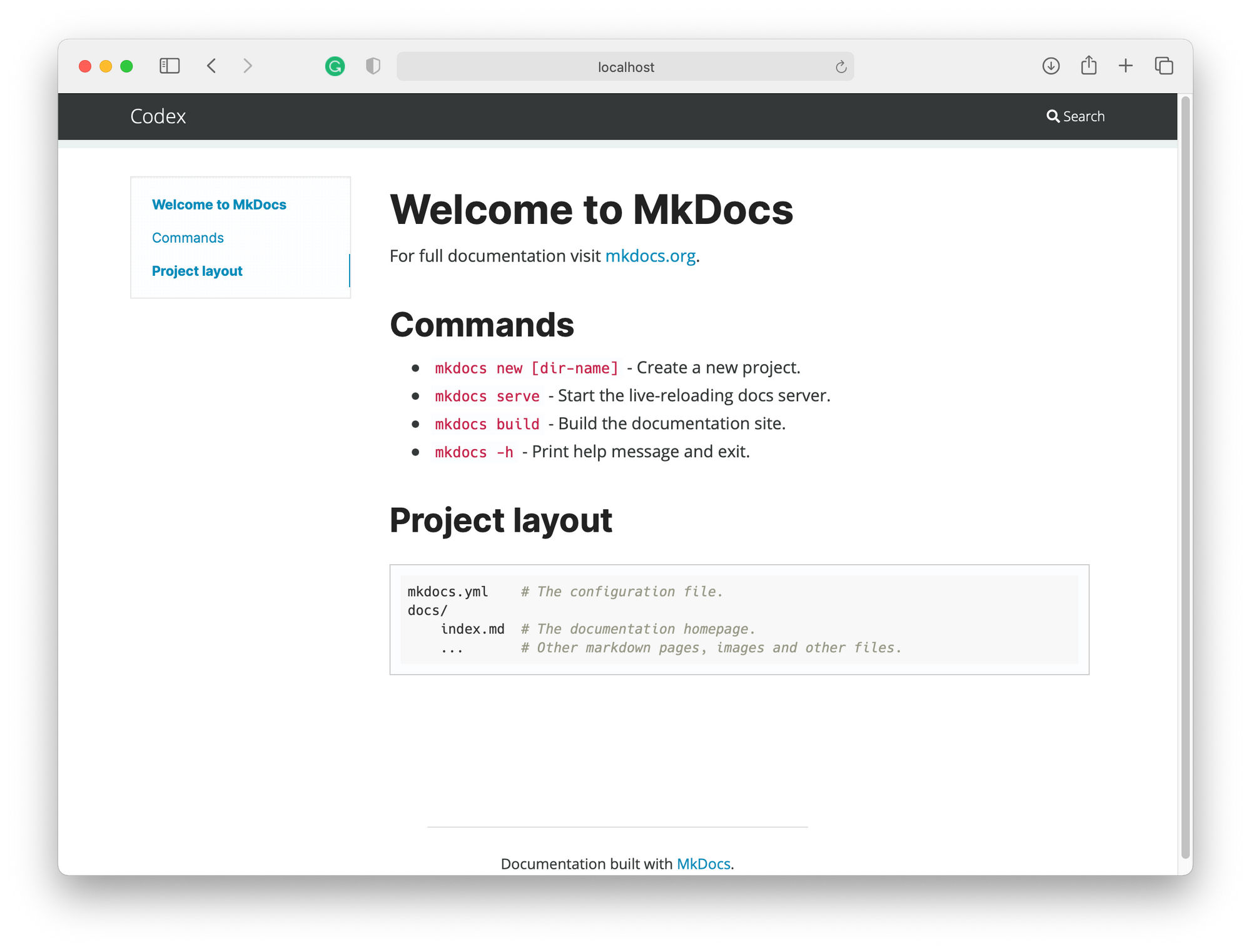 MkDocs with Cinder theme