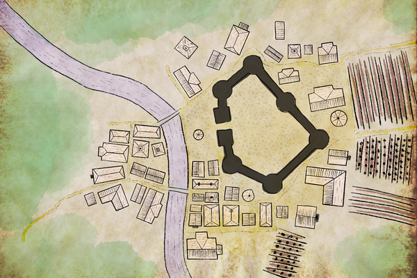 How to draw mini town maps in Procreate